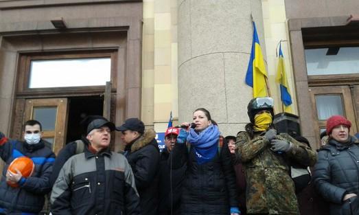 Брифінг представників Євромайдану в приміщенні  Харківської  обласної адміністрації