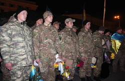 На недільне віче завітали бійці батальйонів «Харків-1» та «Слобожанщина» (фото)