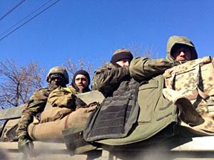 Українські війська покидають Дебальцеве (фото)