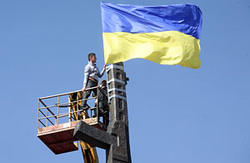 Активісти «Громадської Варти» встановили прапор України на пам'ятнику Воїну-визволителю