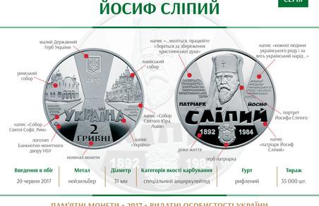На честь Архієпископа Йосифа Сліпого випущено пам'ятну монету