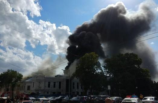 Пожежа у центрі Харькова: вид з безпілотника/ВІДЕО