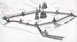 Харківська фортеця в 1709 р. з найменуванням башт, реконструкція Олександра Парійського.