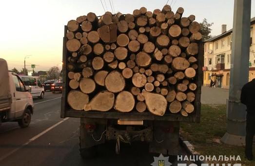 У Харкові зупинили вантажівку з деревиною (ФОТО)